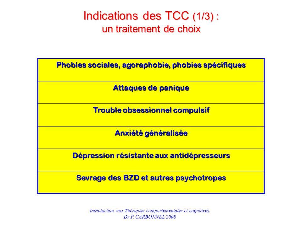 Indications des TCC (1/3) : un traitement de choix