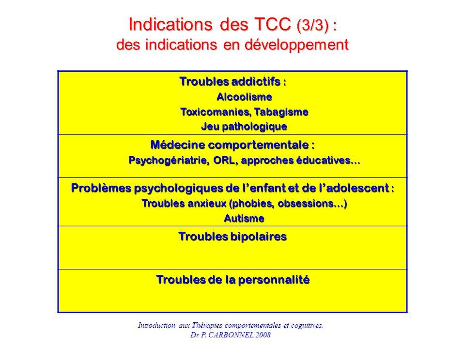 Indications des TCC (3/3) : des indications en développement