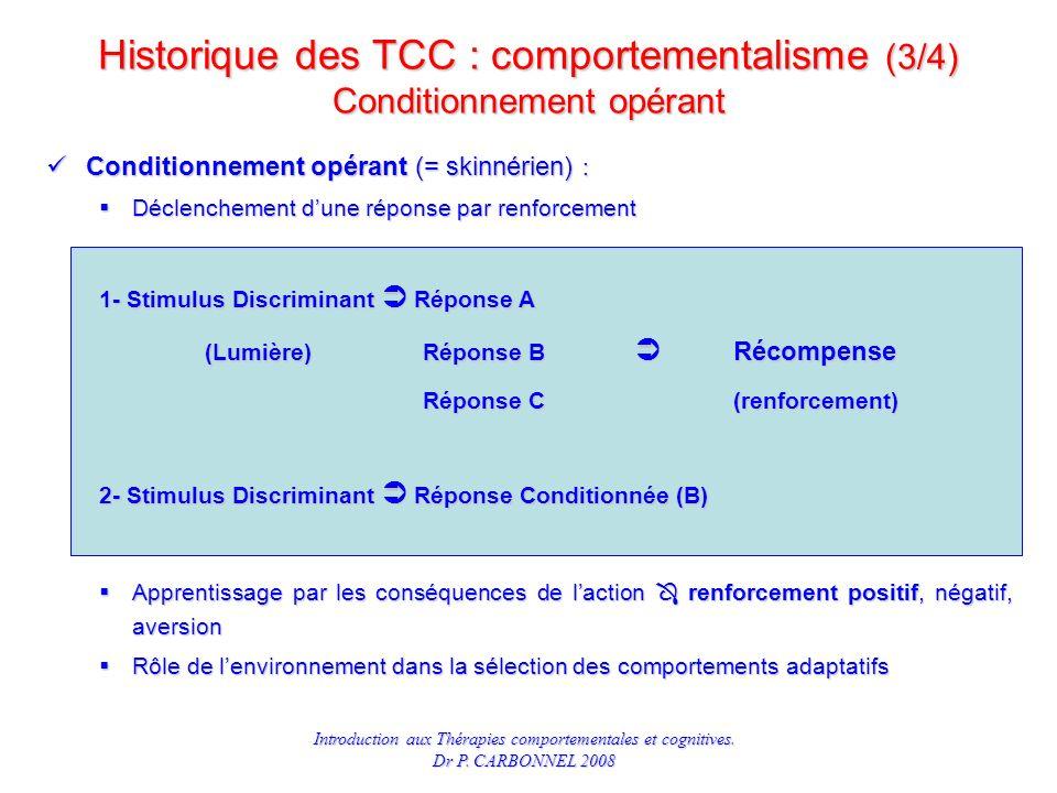 Historique des TCC : comportementalisme (3/4) Conditionnement opérant