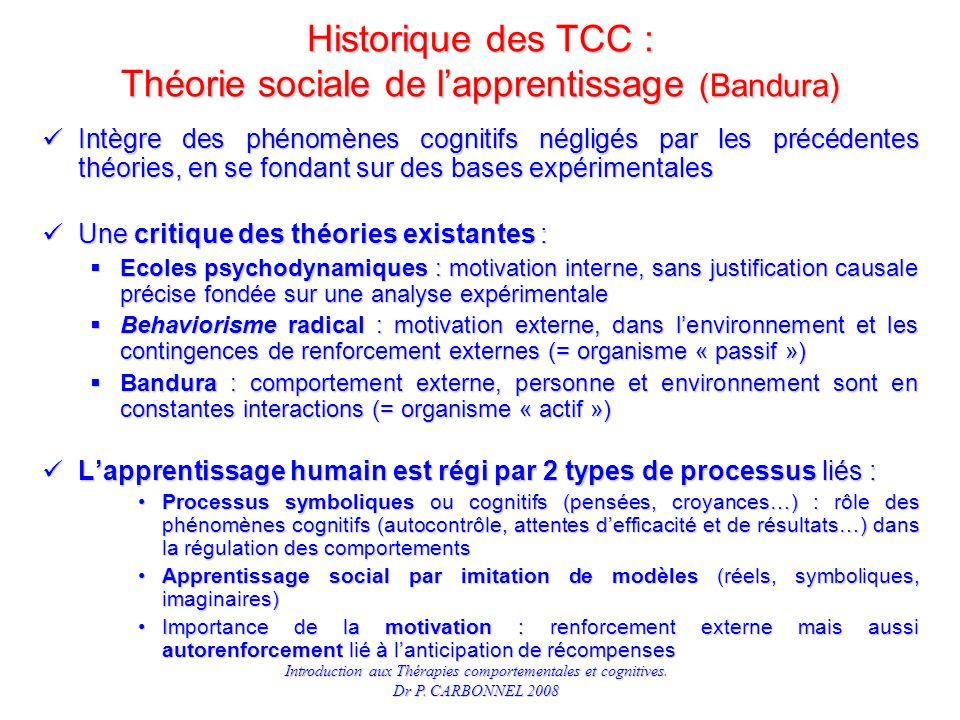 Historique des TCC : Théorie sociale de l'apprentissage (Bandura)