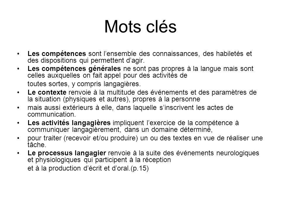 Mots clés Les compétences sont l'ensemble des connaissances, des habiletés et des dispositions qui permettent d'agir.