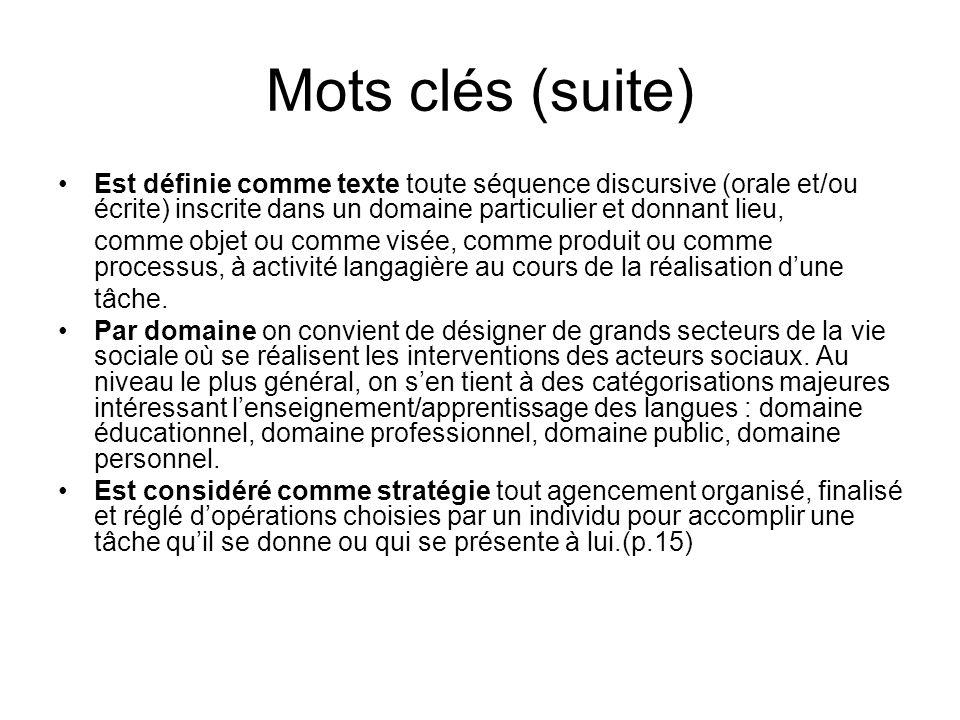 Mots clés (suite) Est définie comme texte toute séquence discursive (orale et/ou écrite) inscrite dans un domaine particulier et donnant lieu,