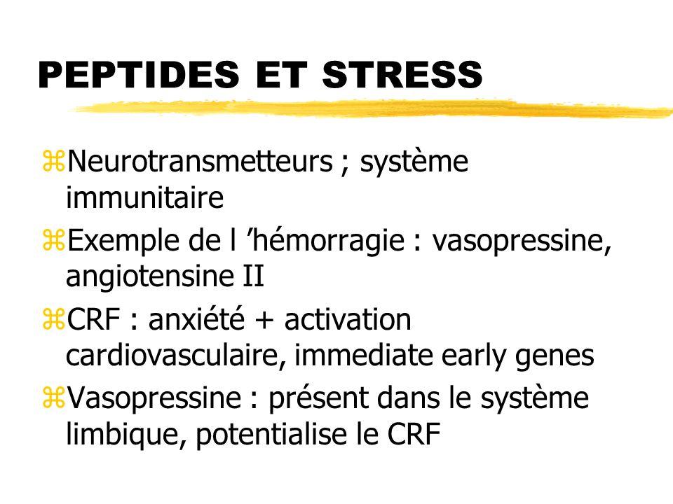 PEPTIDES ET STRESS Neurotransmetteurs ; système immunitaire