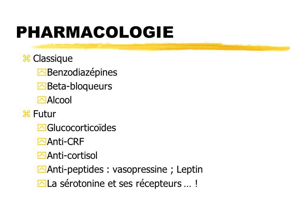 PHARMACOLOGIE Classique Benzodiazépines Beta-bloqueurs Alcool Futur