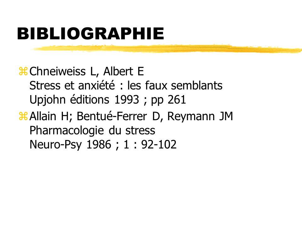 BIBLIOGRAPHIE Chneiweiss L, Albert E Stress et anxiété : les faux semblants Upjohn éditions 1993 ; pp 261.