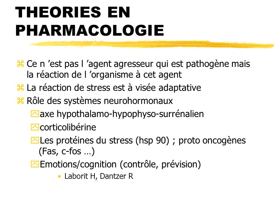 THEORIES EN PHARMACOLOGIE