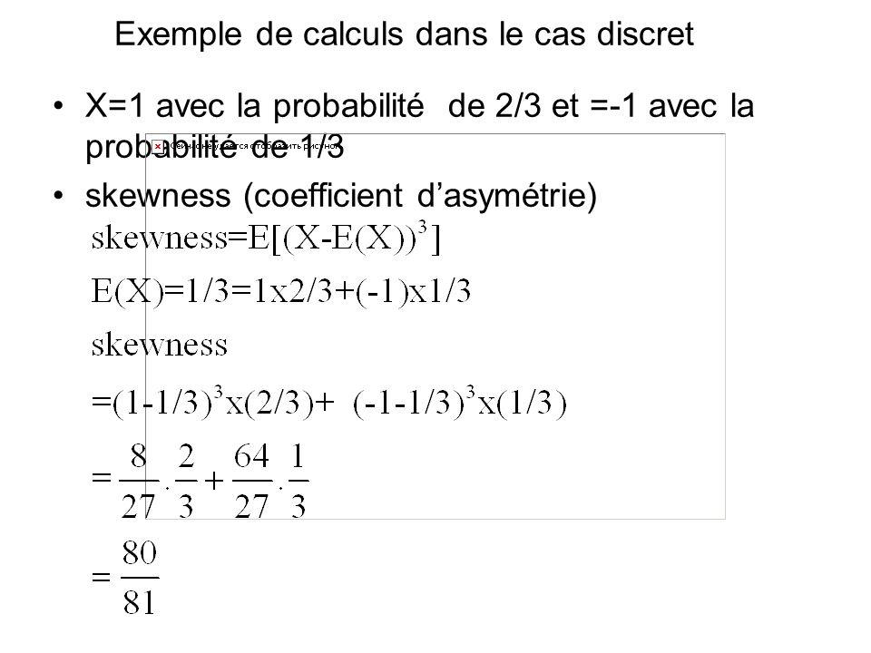 Exemple de calculs dans le cas discret