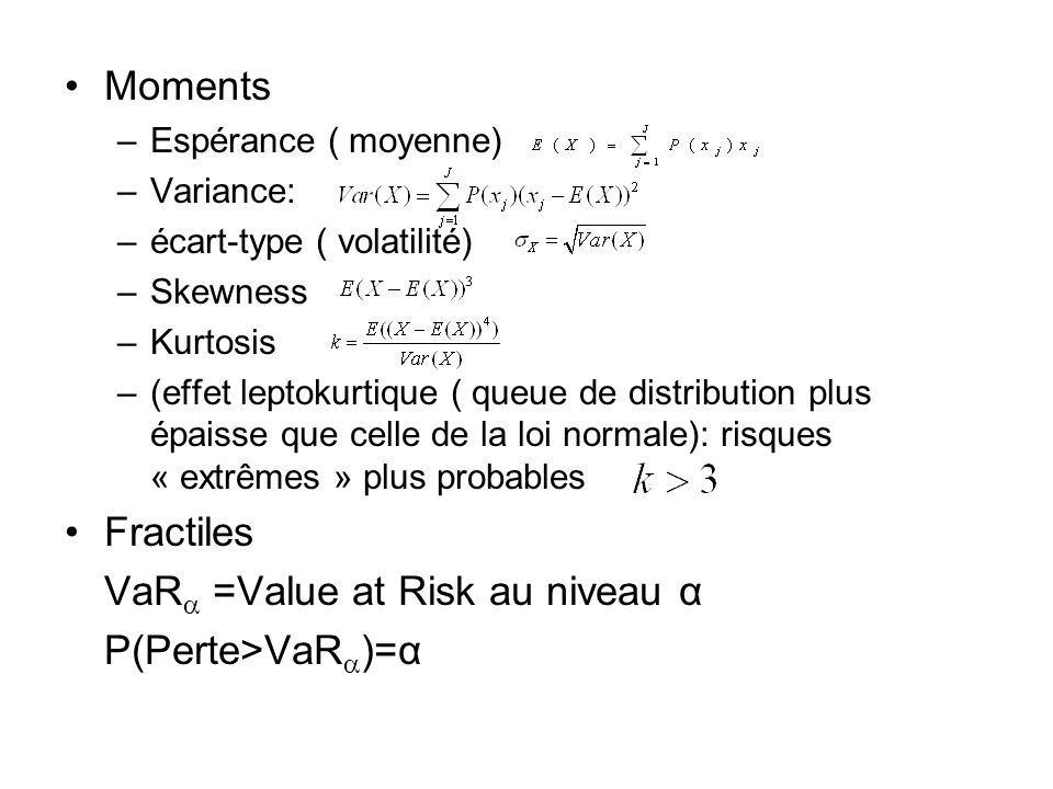 VaR =Value at Risk au niveau α P(Perte>VaR)=α