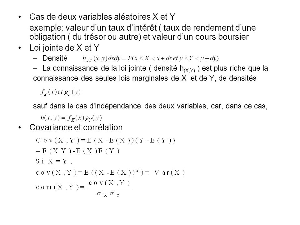 Cas de deux variables aléatoires X et Y
