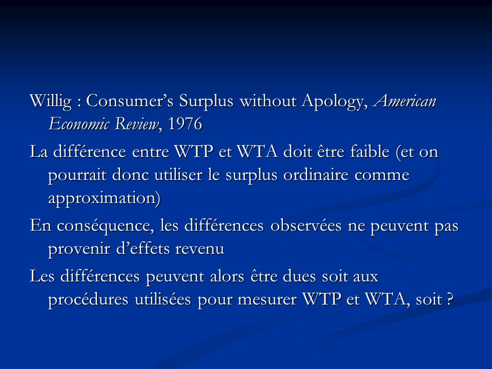 Willig : Consumer's Surplus without Apology, American Economic Review, 1976