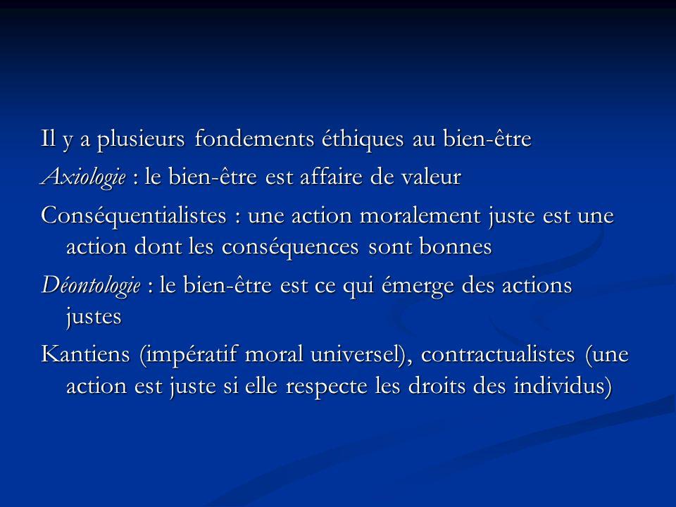 Il y a plusieurs fondements éthiques au bien-être