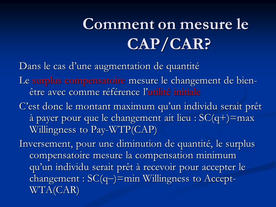 Comment on mesure le CAP/CAR