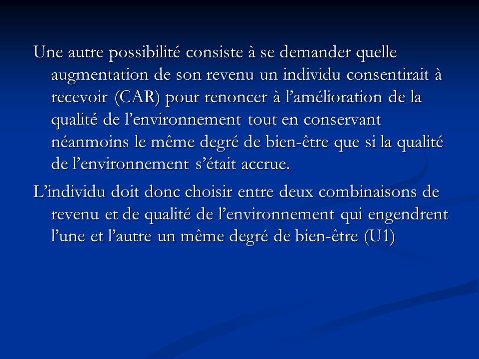 Une autre possibilité consiste à se demander quelle augmentation de son revenu un individu consentirait à recevoir (CAR) pour renoncer à l'amélioration de la qualité de l'environnement tout en conservant néanmoins le même degré de bien-être que si la qualité de l'environnement s'était accrue.