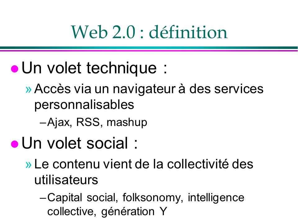 Web 2.0 : définition Un volet technique : Un volet social :