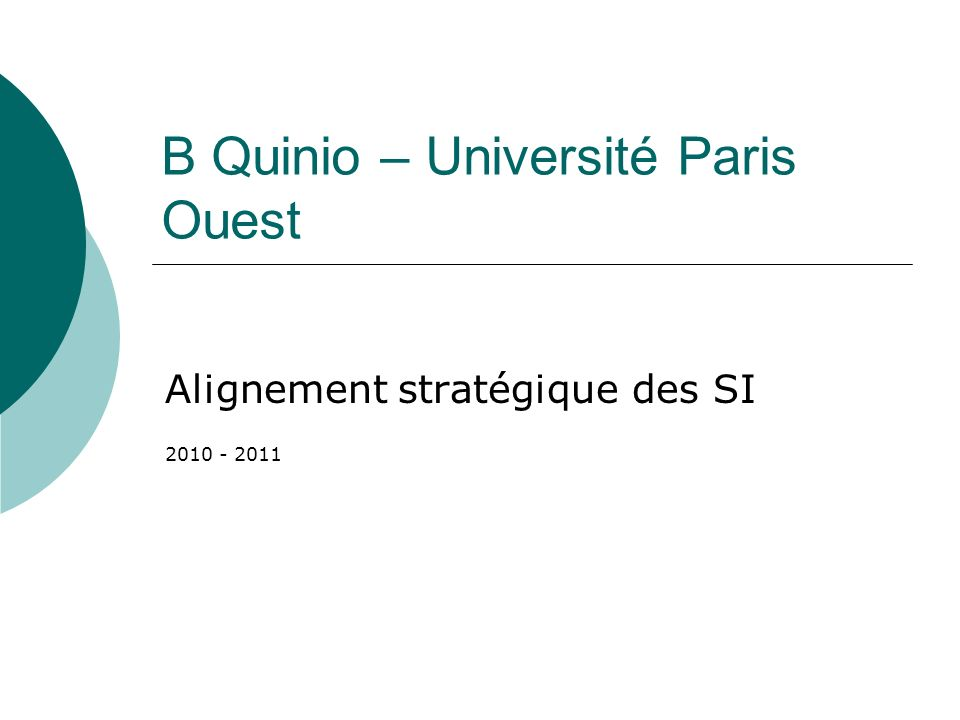B Quinio – Université Paris Ouest