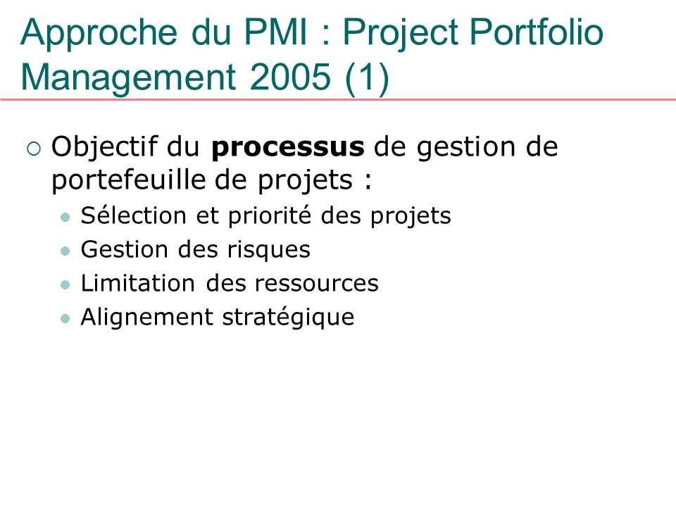 Approche du PMI : Project Portfolio Management 2005 (1)