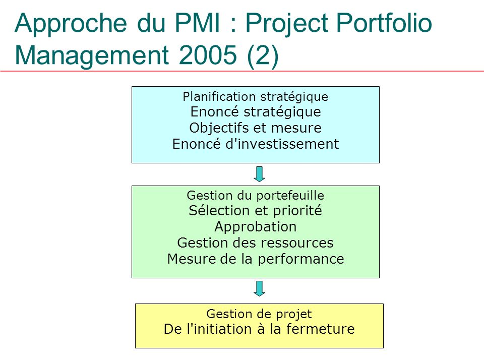 Approche du PMI : Project Portfolio Management 2005 (2)