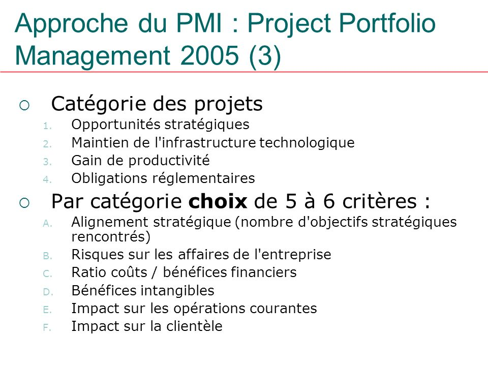 Approche du PMI : Project Portfolio Management 2005 (3)
