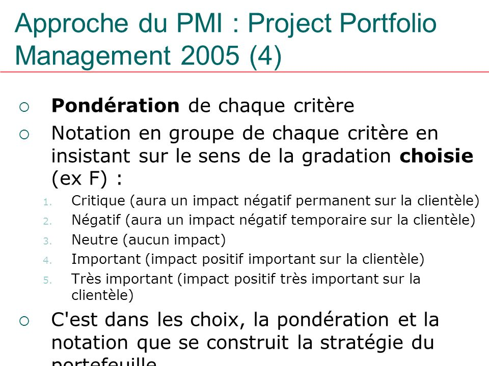 Approche du PMI : Project Portfolio Management 2005 (4)