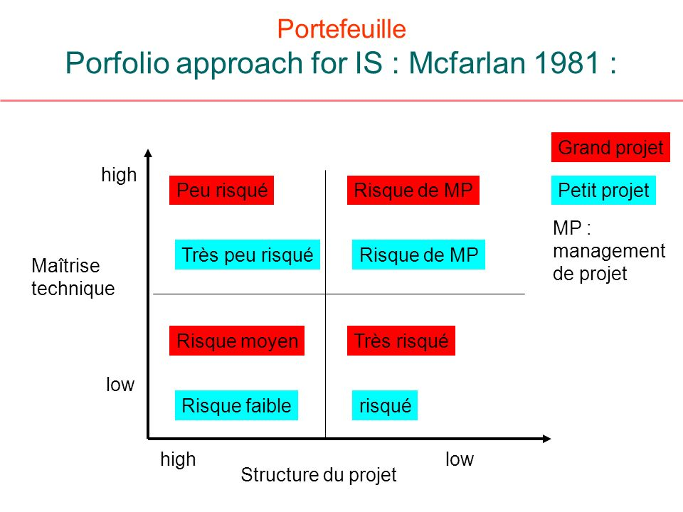 Portefeuille Porfolio approach for IS : Mcfarlan 1981 :