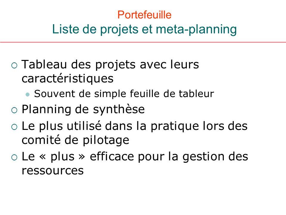 Portefeuille Liste de projets et meta-planning