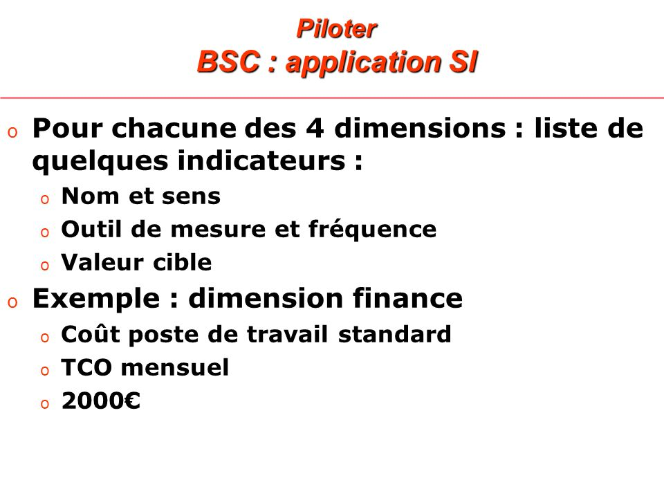 Piloter BSC : application SI