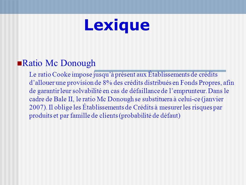 Lexique Ratio Mc Donough