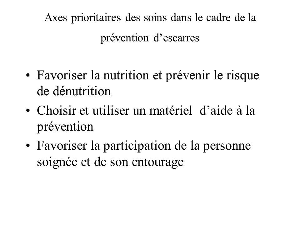 Axes prioritaires des soins dans le cadre de la prévention d'escarres
