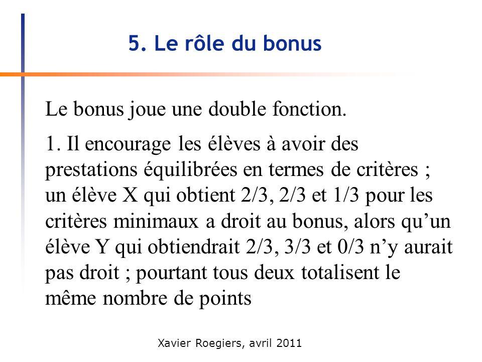 5. Le rôle du bonus Le bonus joue une double fonction.