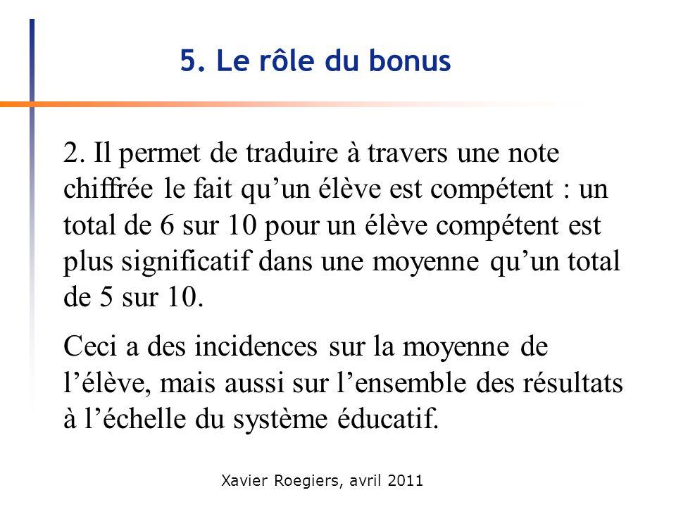 5. Le rôle du bonus