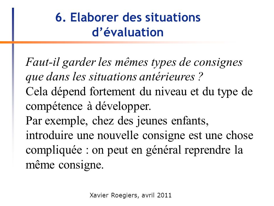 6. Elaborer des situations d'évaluation