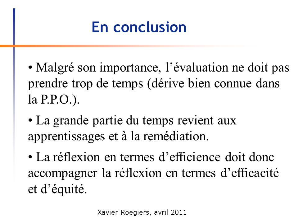 En conclusion • Malgré son importance, l'évaluation ne doit pas prendre trop de temps (dérive bien connue dans la P.P.O.).