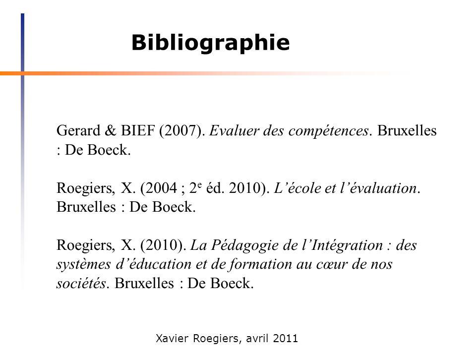 Bibliographie Gerard & BIEF (2007). Evaluer des compétences. Bruxelles : De Boeck.