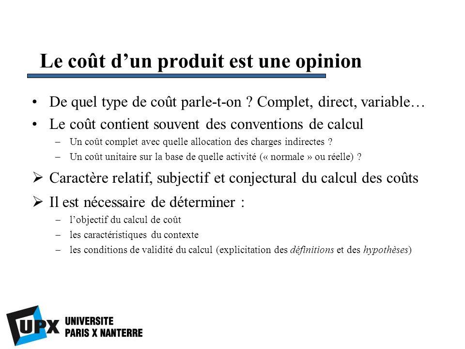 Le coût d'un produit est une opinion