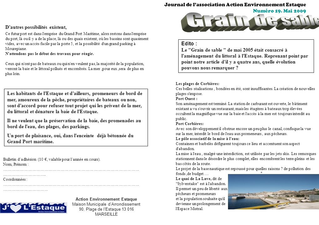 Grain de sable Journal de l'association Action Environnement Estaque