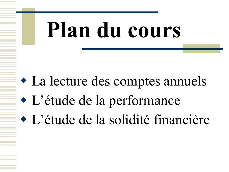 Plan du cours La lecture des comptes annuels L'étude de la performance