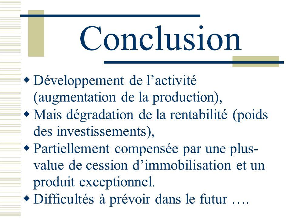 Conclusion Développement de l'activité (augmentation de la production), Mais dégradation de la rentabilité (poids des investissements),
