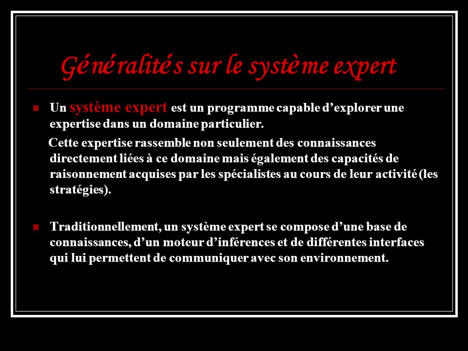 Généralités sur le système expert