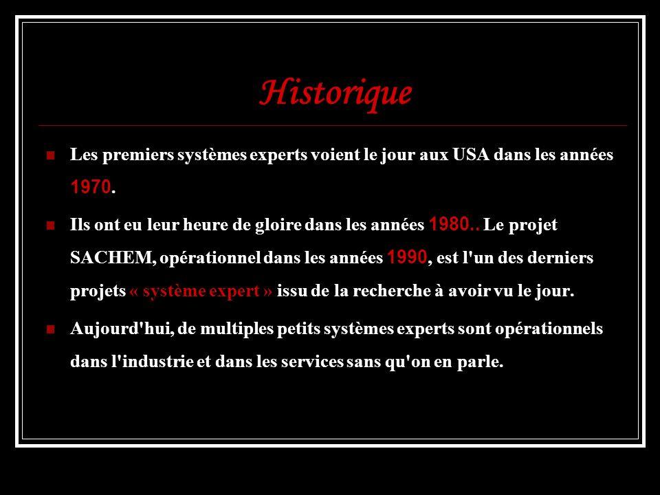 Historique Les premiers systèmes experts voient le jour aux USA dans les années 1970.