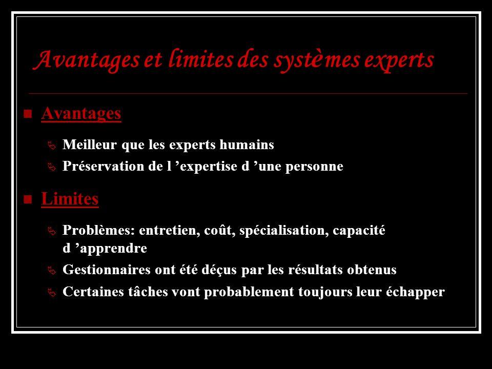 Avantages et limites des systèmes experts