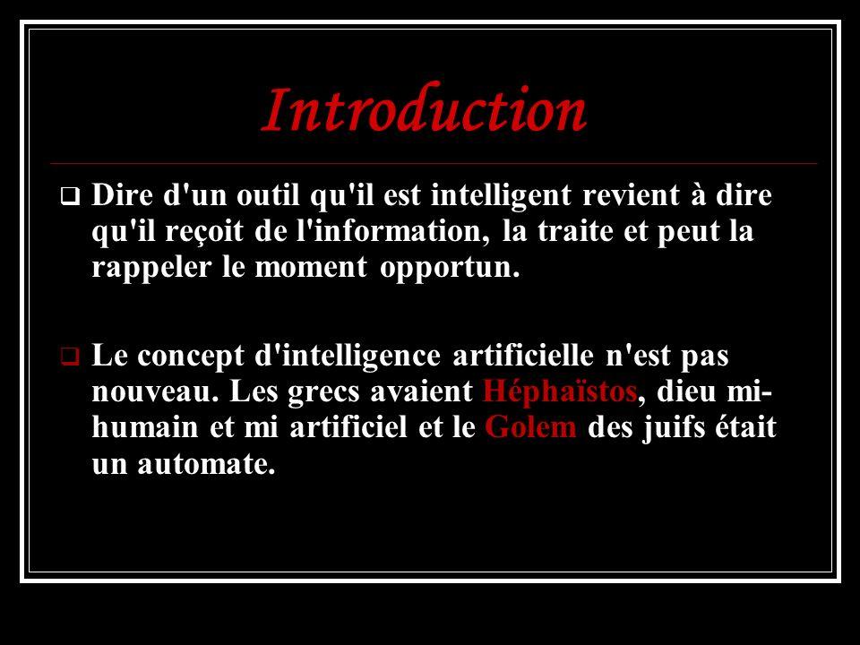 Introduction Dire d un outil qu il est intelligent revient à dire qu il reçoit de l information, la traite et peut la rappeler le moment opportun.