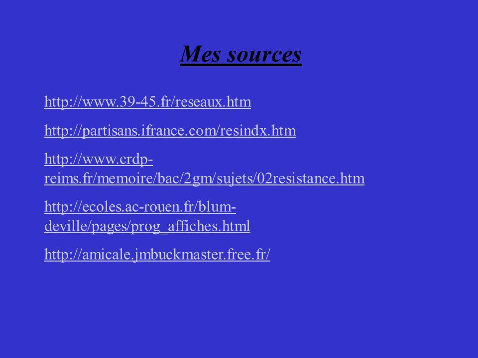Mes sources http://www.39-45.fr/reseaux.htm