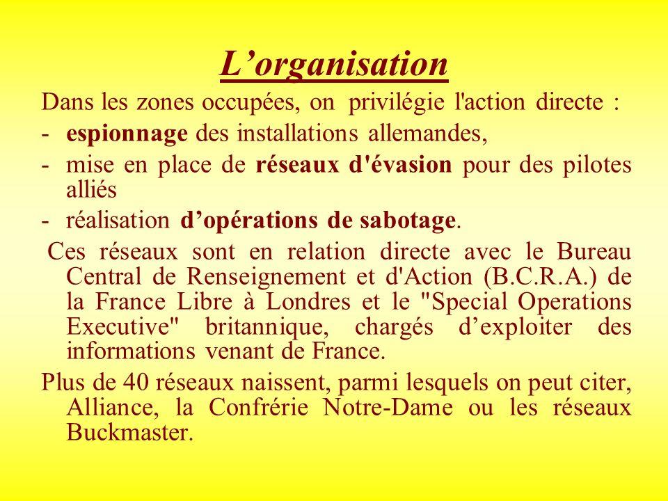 L'organisationDans les zones occupées, on privilégie l action directe : espionnage des installations allemandes,