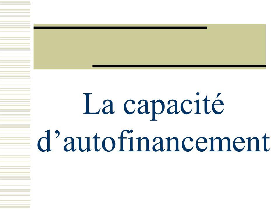 La capacité d'autofinancement