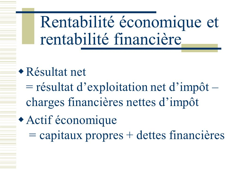 Rentabilité économique et rentabilité financière