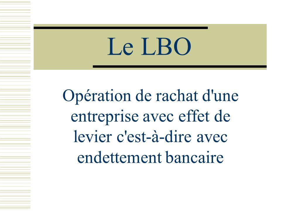 Le LBO Opération de rachat d une entreprise avec effet de levier c est-à-dire avec endettement bancaire.