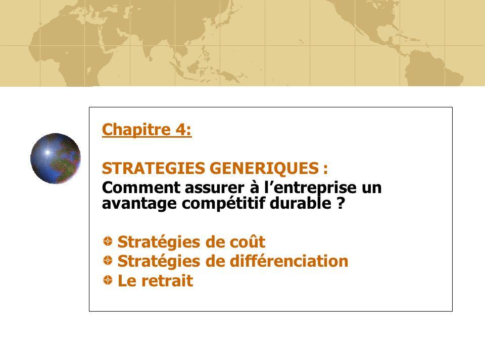 Chapitre 4: STRATEGIES GENERIQUES : Comment assurer à l'entreprise un avantage compétitif durable