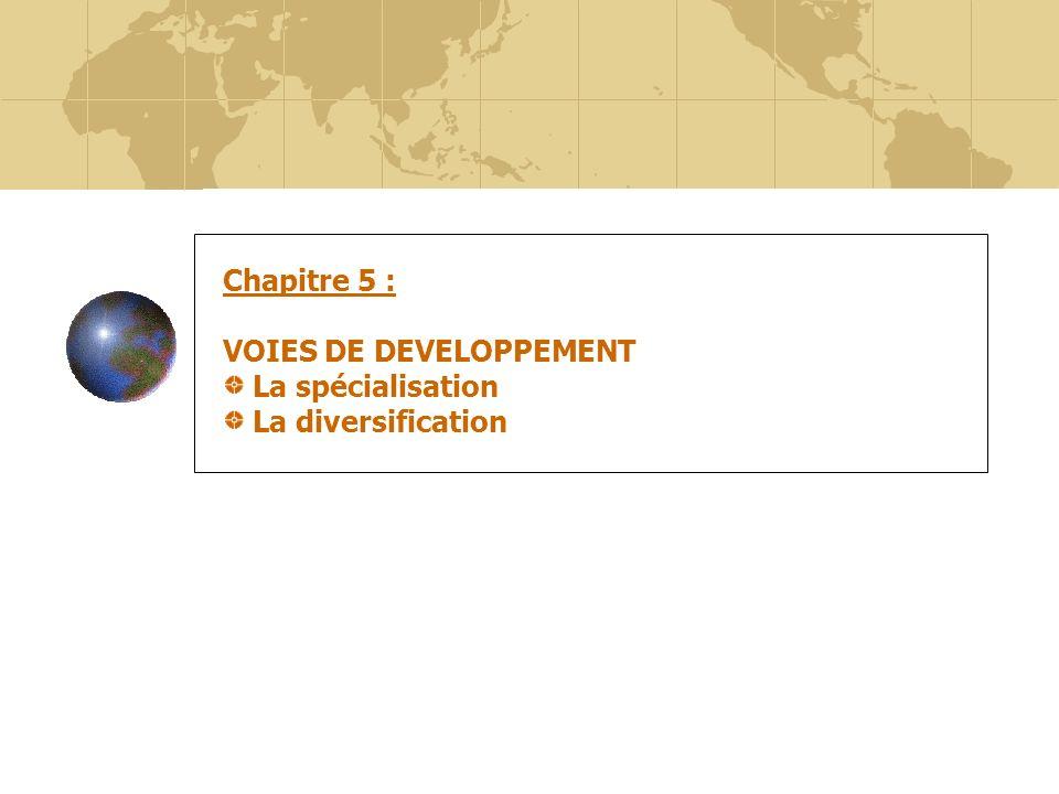 Chapitre 5 : VOIES DE DEVELOPPEMENT La spécialisation La diversification