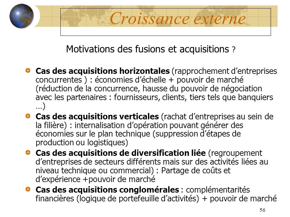 Motivations des fusions et acquisitions