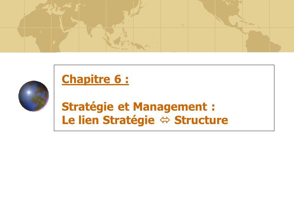 Chapitre 6 : Stratégie et Management : Le lien Stratégie  Structure